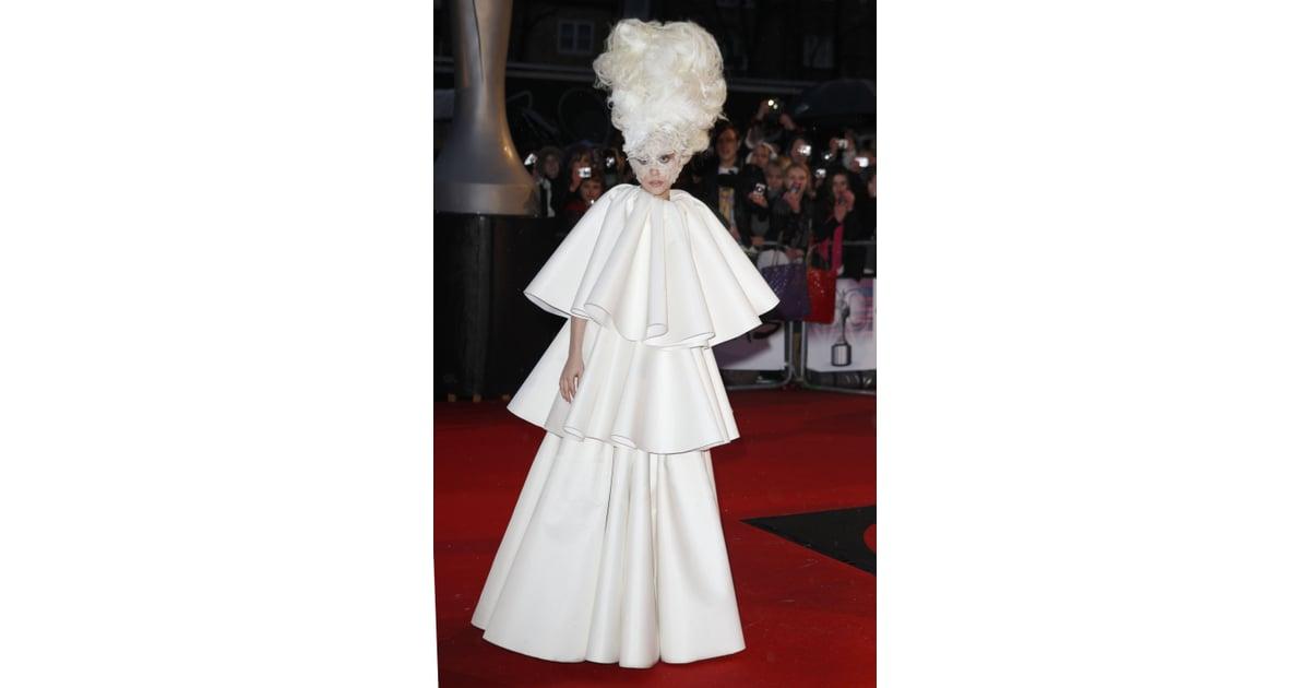 Lady Gaga in White Francesco Scognamiglio Dress at 2010 Brit Awards ...