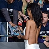Rihanna wore a backless white dress to the premiere of Battleship in LA.