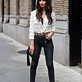 Emily Ratajkowski Wearing a Marc Jacobs Top and Khaite Jeans