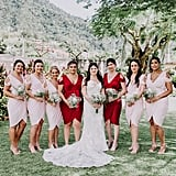 Nothing says Valentine's Day like pink and red bridesmaids dresses.