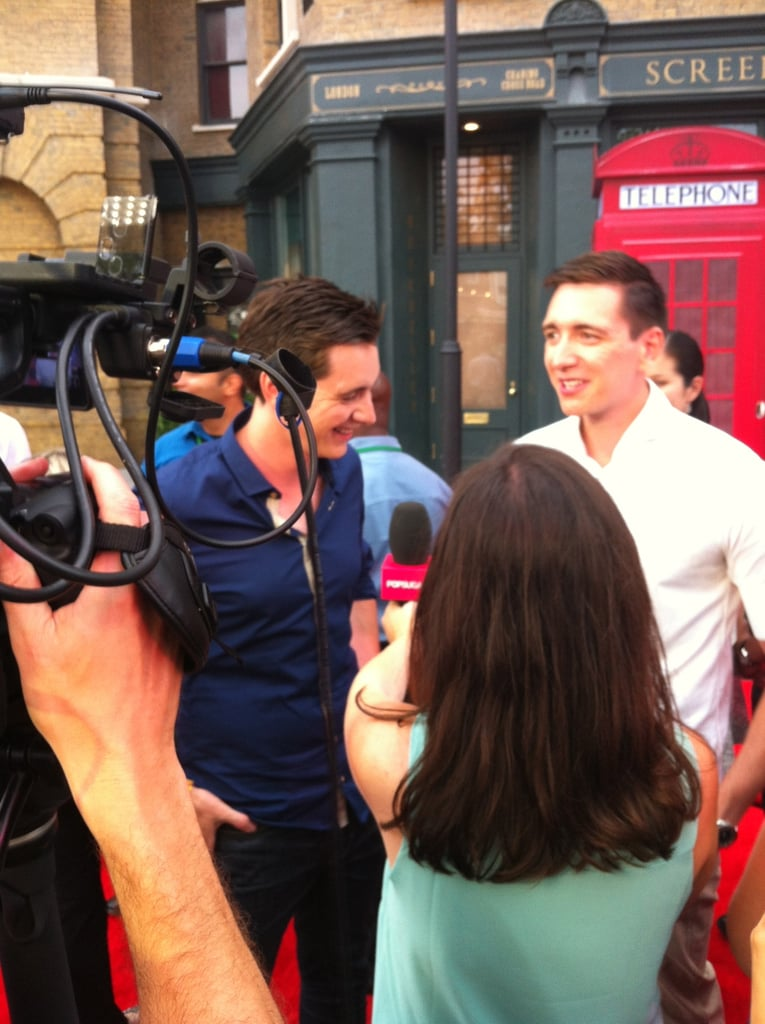 I spoke with James (left) and Oliver Phelps on the red carpet. The twins play the Weasley twins, Fred and George, although only one survives the series (as James reminded me).