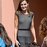 Queen Letizia's Vertical-Striped Dress