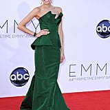 Allison wore an emerald satin strapless Oscar de la Renta dress to the Emmys in 2012.