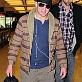 Channing Tatum wore headphones in one ear.
