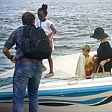Zahara Jolie-Pitt led the way with her parents Angelina Jolie and Brad Pitt and brothers and sisters close behind leaving the Galapagos Islands.