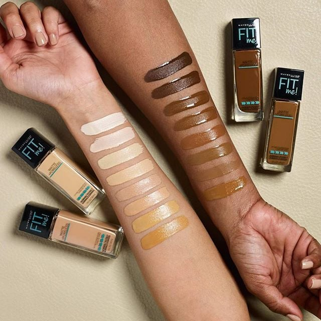 Image result for maybelline fit me matte and poreless shades swatches