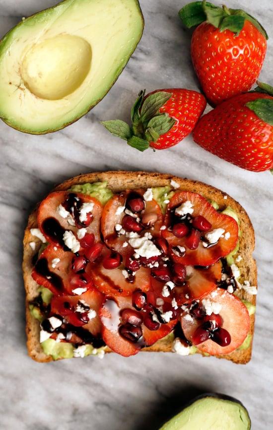 Pomegranate Seeds, Strawberries, Feta, and Balsamic Avocado Toast