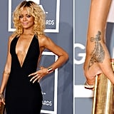 "Rihanna got a Maori-inspired geometric design in New Zealand in 2008 and explained, ""It's tribal. It represents strength and love."""
