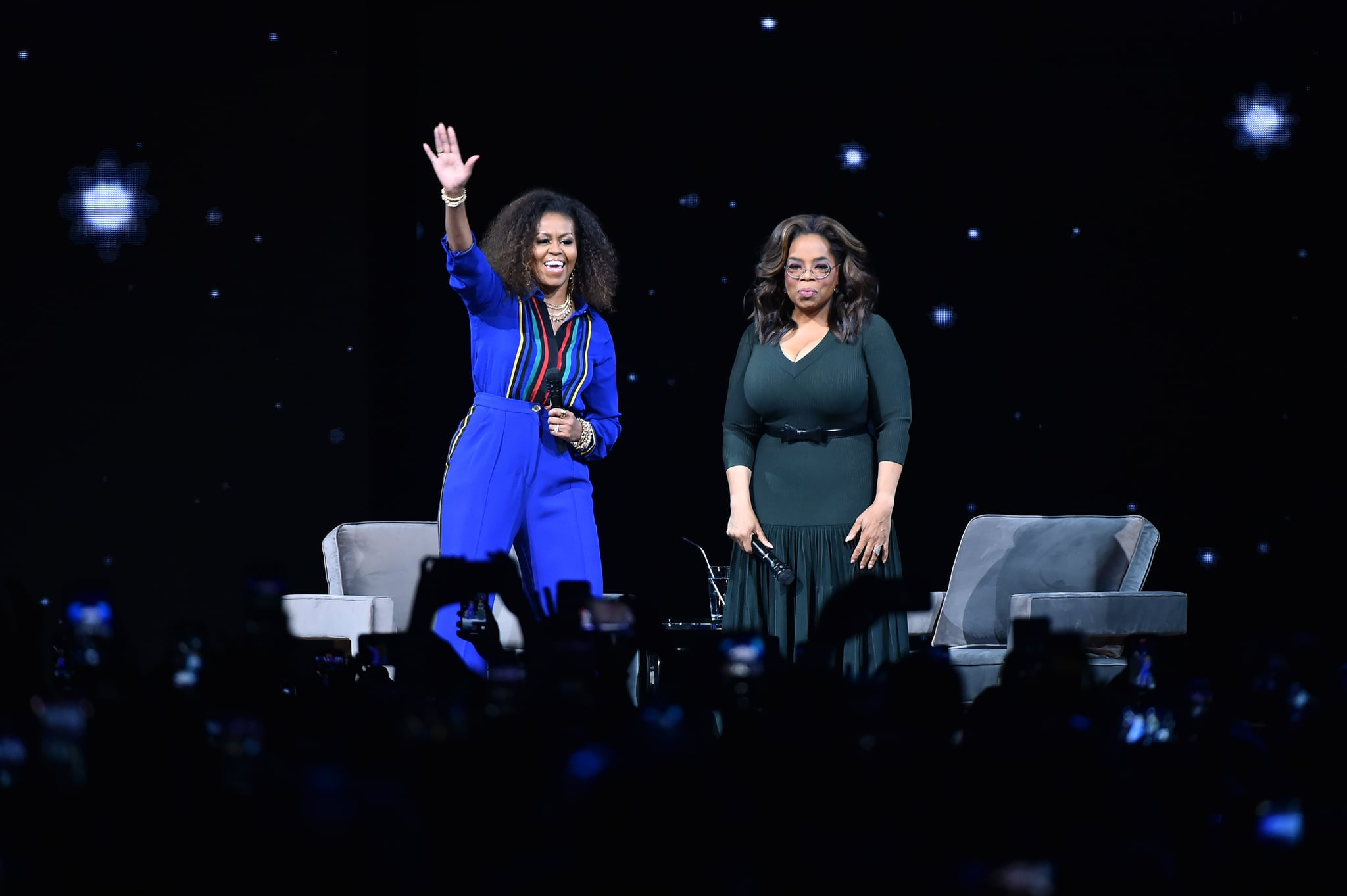 NEW YORK, NEW YORK - FEBRUARY 08: Michelle Obama and Oprah Winfrey during Oprah's 2020 Vision: Your Life in Focus Tour presented by WW (Weight Watchers Reimagined) at Barclays Centre on February 08, 2020 in New York, New York. (Photo by Theo Wargo/Getty Images)