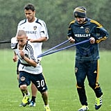 David Beckham practicing with the Galaxy.