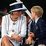 Prince Harry chatted with his mother during the V-J Day commemorations in August 1995.