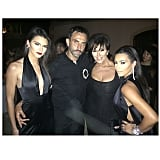Kendall, Kris, and Kim stunned in black next to Riccardo. Source: Instagram user kimkardashian