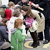 Kate received bunches of flowers from children at the Trearddur Bay Lifeboat Station in Wales back in February 2011.