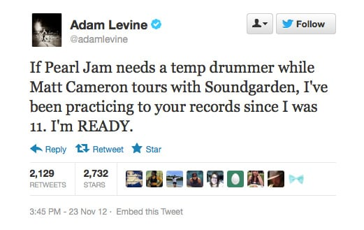 Adam Levine's offering his services.