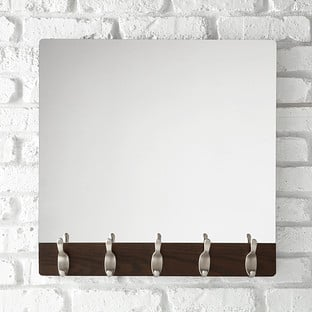 Umbra Walnut Five-Hook Wave Mirror