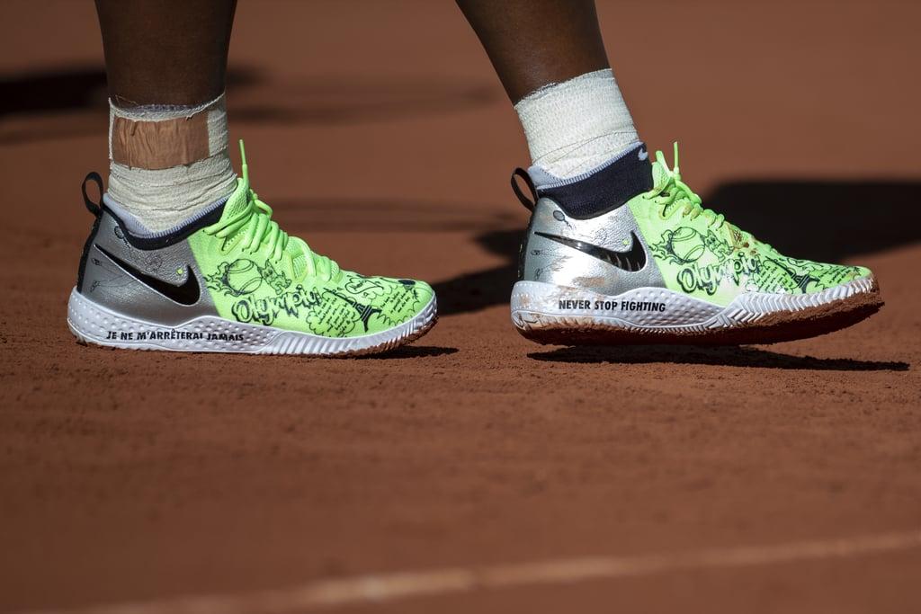 Serena Williams' Custom Neon-Green Nike French Open Sneakers
