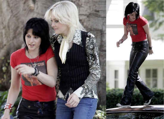 Photos Of Dakota Fanning and Kristen Stewart on the Set Of The Runaways, Jumping On Cars