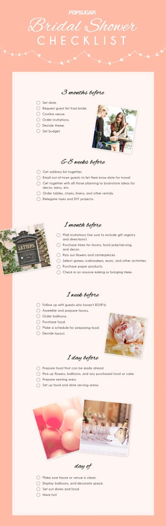 photograph regarding Bridal Shower Checklist Printable known as Bridal Shower List POPSUGAR Get pleasure from Intercourse