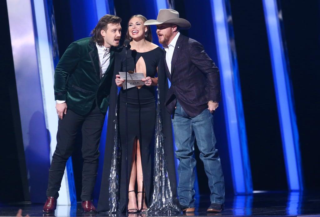 Morgan Wallen, Hannah Brown, and Cody Johnson at the 2019 CMA Awards