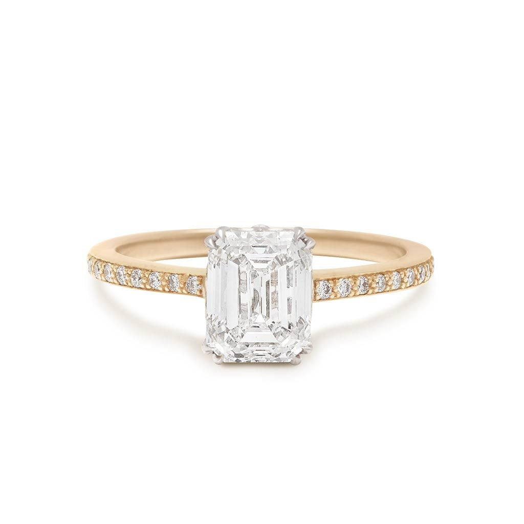 Hazeline Solitaire Ring Emerald Cut Yellow Gold and White Diamond