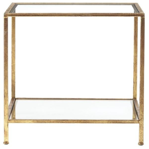 Home Decorators Collection Bella Square Gold Leaf Metal and Glass Accent Table