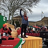 Lance Bass waved from a float at a parade in Philadelphia, PA.