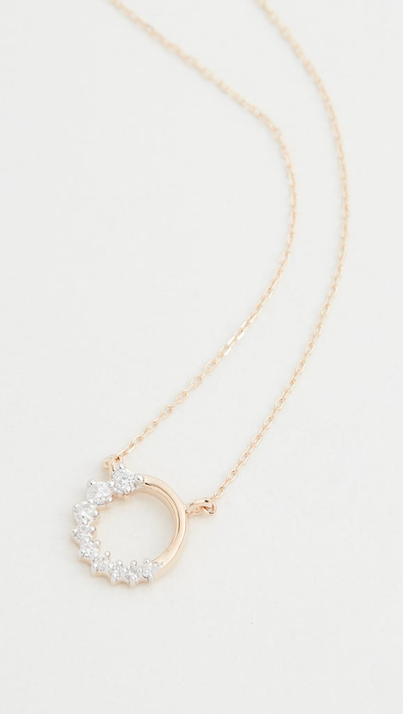 Adina Reyter 14k Super Tiny Side Diamond Circle Necklace