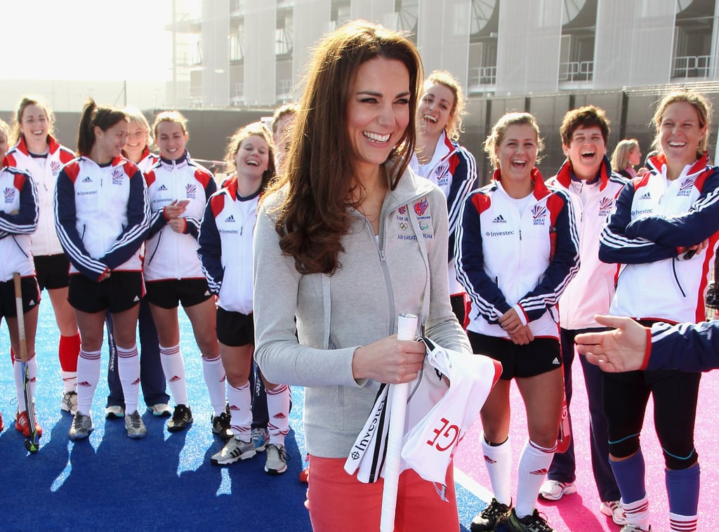 Kate Middleton laughing in London's Olympic Park.