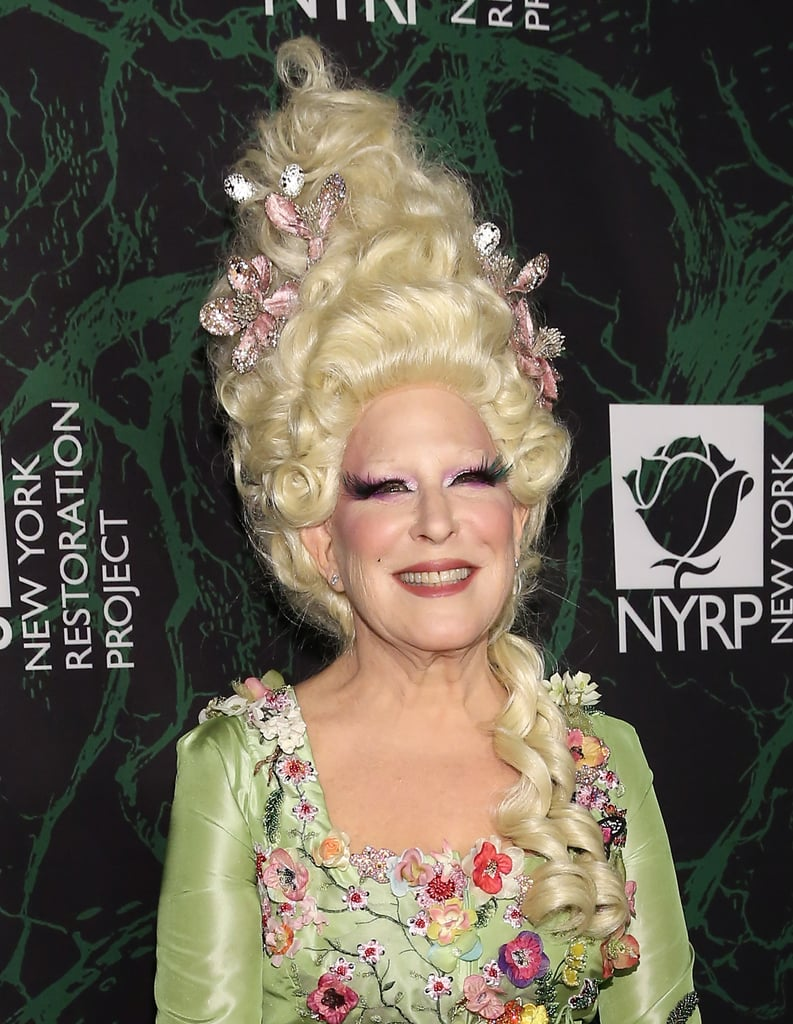 We thought there was no way Bette Midler could top her Winifred Sanderson Halloween costume from last year, but it looks like we were dead wrong. On Monday, the actress showed up to her annual NYC Halloween bash, benefiting the New York Restoration Project, dressed up as none other than Marie Antoinette. From the hair to the makeup to the outfit, everything about Bette's getup was absolute perfection. Heidi Klum better watch out, because it looks like there's a new queen of Halloween in town.
