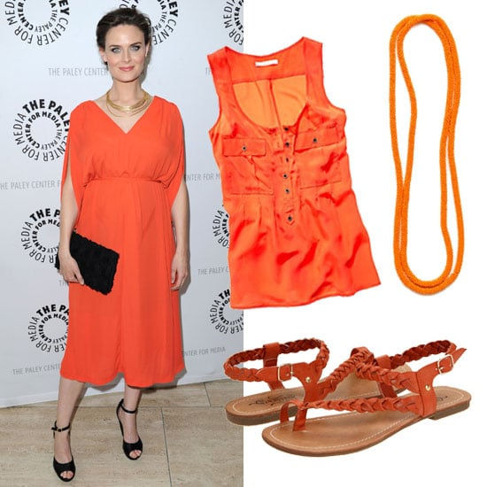 Emily Deschanel in Orange H&M Dress: Shop Orange Pieces Under $100