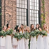 Each Bridesmaid in This Cool Boho Wedding Wore a White Gown — and It Worked Beautifully