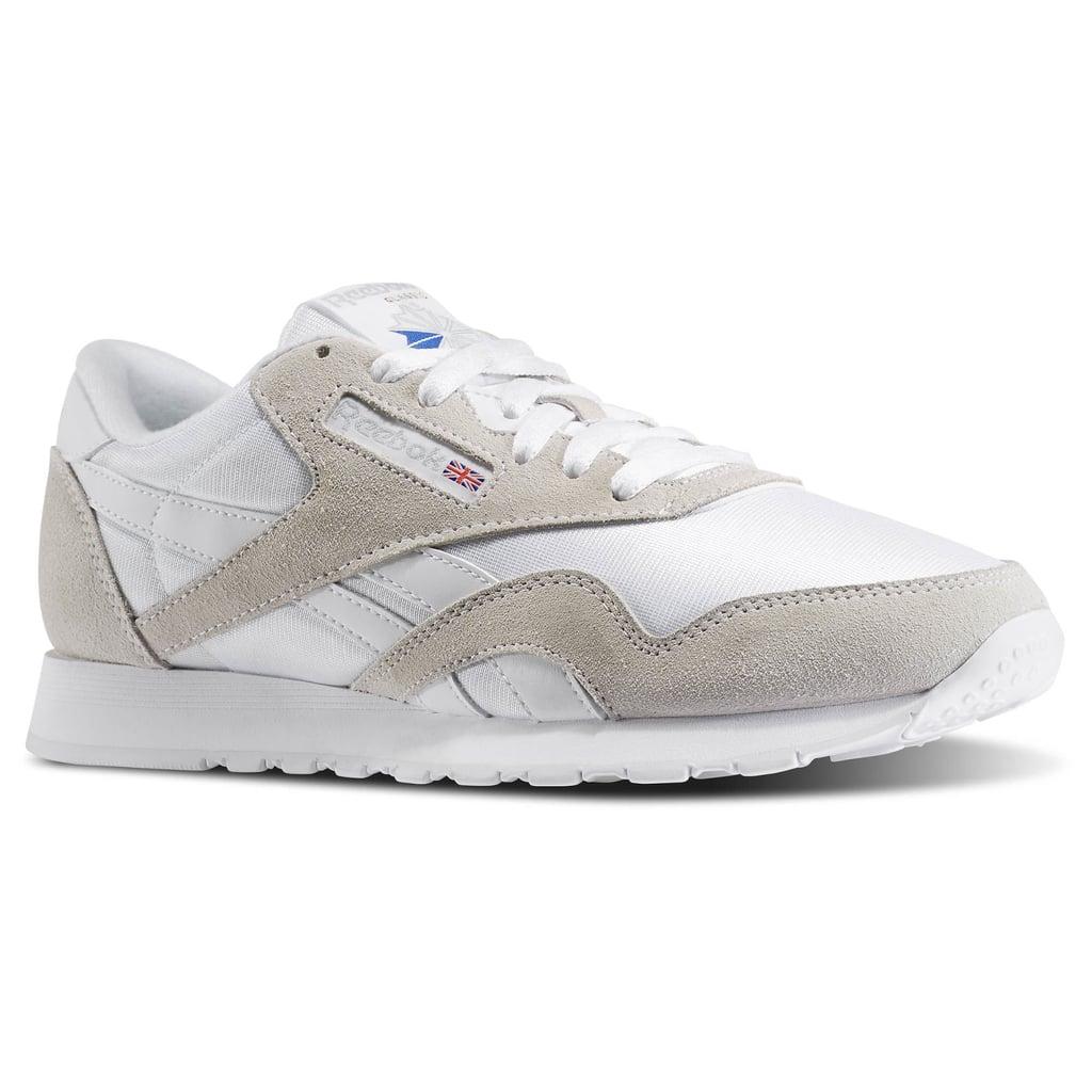 reebok classics women. Reebok Classic Nylon Sneakers In White And Gray Laura 03e8c907c