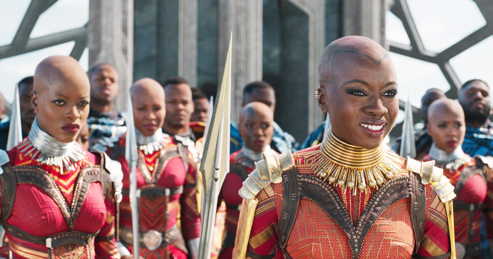BLACK PANTHER, left: Florence Kasumba, right: Danai Gurira, 2018.  Marvel /  Walt Disney Studios Motion Pictures /Courtesy Everett Collection