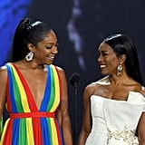 Tiffany Haddish and Angela Bassett at the 2018 Emmy Awards
