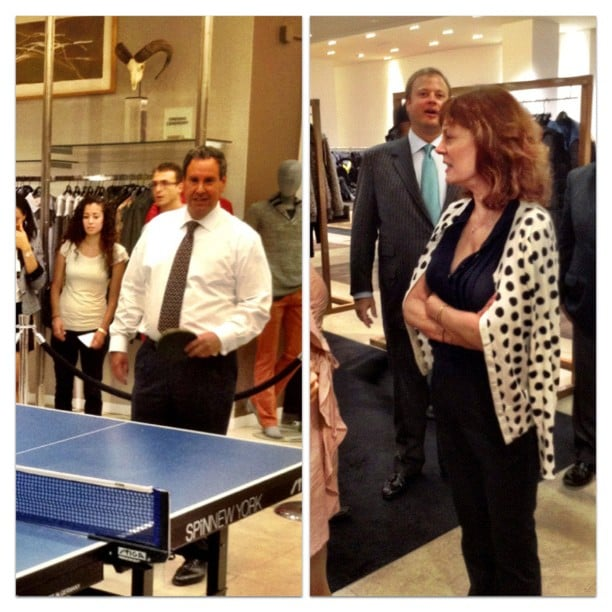 Susan Sarandon played ping-pong at Saks Fifth Avenue during FNO. Source: Instagram user s5a