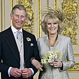 The new duchess opted for a pale blue coat with a matching chiffon dress underneath, both by Robinson Valentine (now known as Anna Valentine). She added that knockout gold fascinator by Philip Treacy and a pretty posy picked from her own garden.