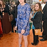 Kristen Stewart's blue floral lace Stella McCartney minidress.