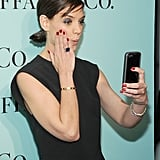 Katie Holmes took a selfie on the red carpet at Tiffany's Blue Book Gala at the Guggenheim Museum in NYC.