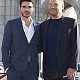Richard Madden and Kenneth Branagh were sadly lacking their Cinderella costar Lily James as they posed for photos in Madrid.