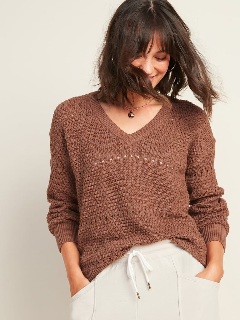 Old Navy Textured Pointelle-Knit V-Neck Sweater