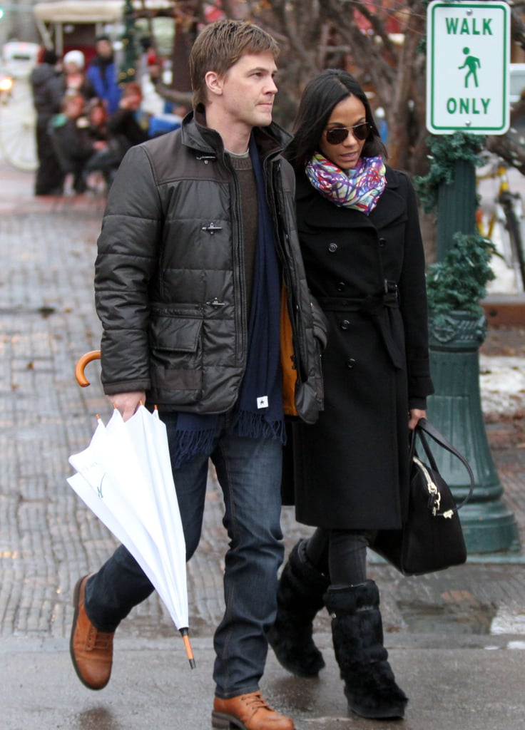 Zoe Saldana and Keith Britton browsed the shops in Aspen yesterday. Zoe was covered up in a warm coat after stripping down over the Summer for her sexy Calvin Klein lingerie ads. The engaged duo are wrapping up a big year that included lots of red carpet time for Zoe, which landed her a spot as one of FabSugarTV's fashion favorites. Now they're braving the cold temperatures to enjoy a snowy holiday like Colorado regulars Kate Hudson and Goldie Hawn, while other celebrities like Cameron Diaz and George Clooney opted for warmer weather in Mexico.