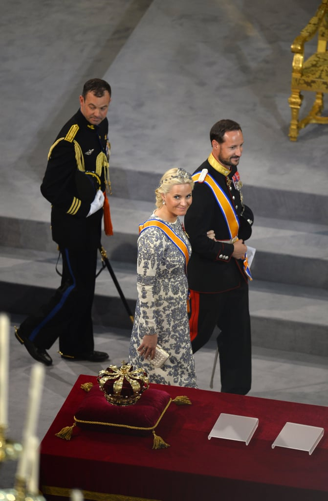 Princess Mette-Marit and Prince Haakon of Norway left after the inauguration ceremony at New Church in Amsterdam.