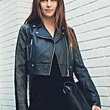 UO Faux Leather Cropped Moto Jacket