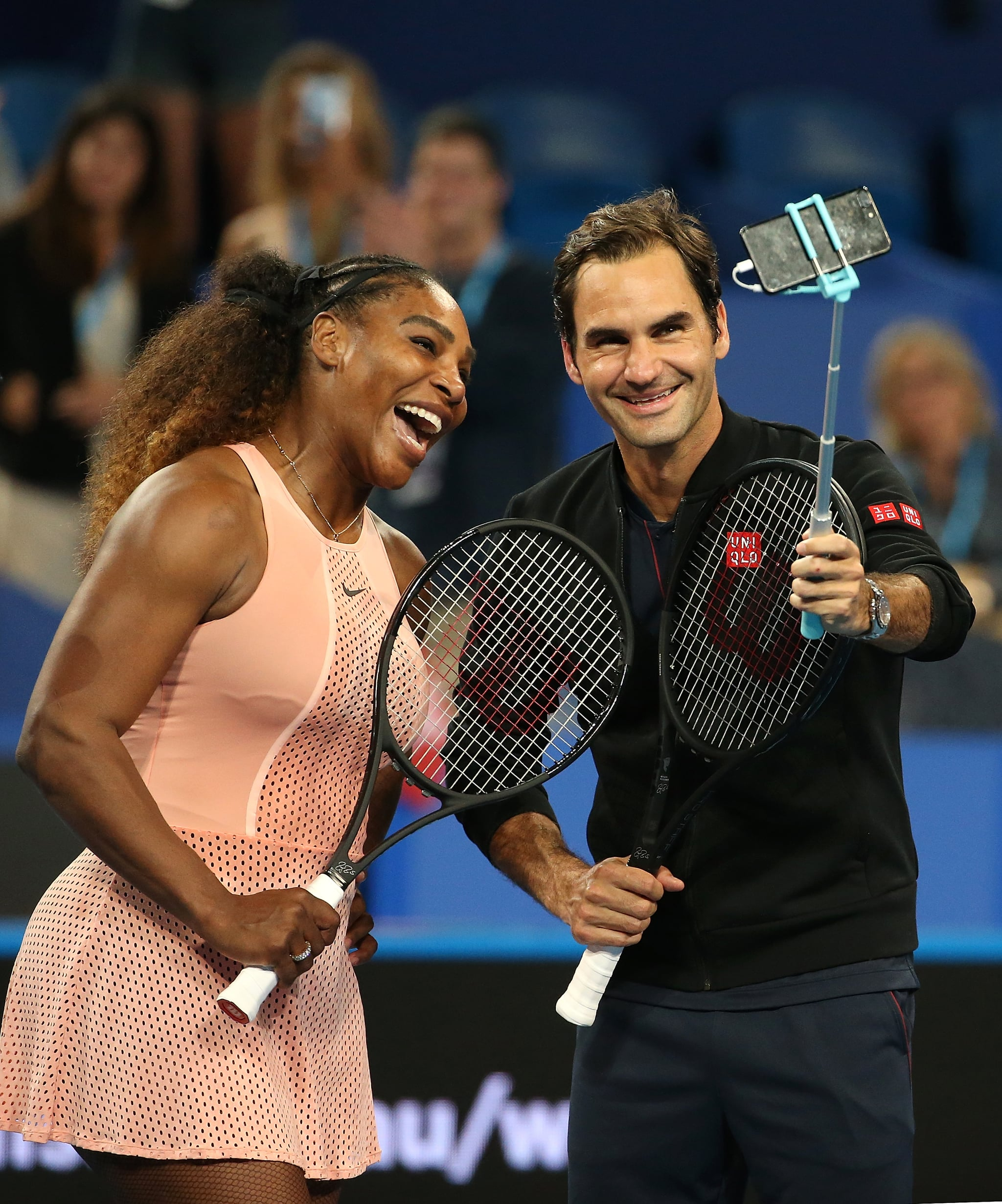 PERTH, AUSTRALIA - JANUARY 01: Serena Williams of the United States and Roger Federer of Switzerland take a selfie on court following their mixed doubles match during day four of the 2019 Hopman Cup at RAC Arena on January 01, 2019 in Perth, Australia. (Photo by Paul Kane/Getty Images)