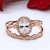 Halo Two-Piece 1.21 Carat Oval Simulated Diamond in Rose Gold