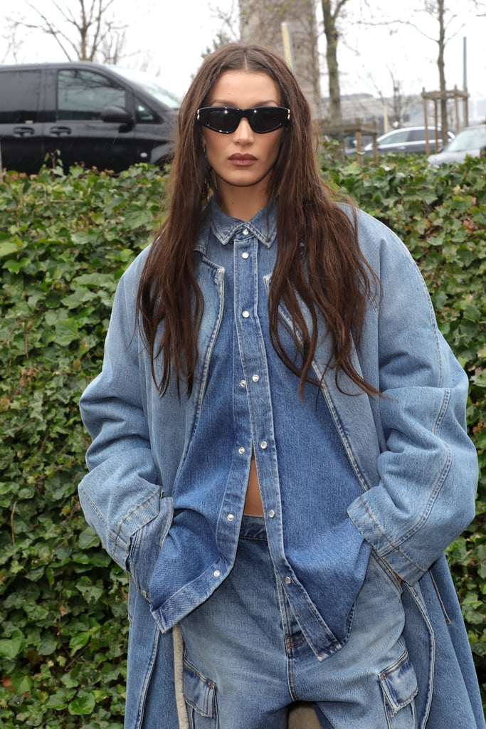Bella Hadid Denim-on-Denim Paris Fashion Week Outfit Photos