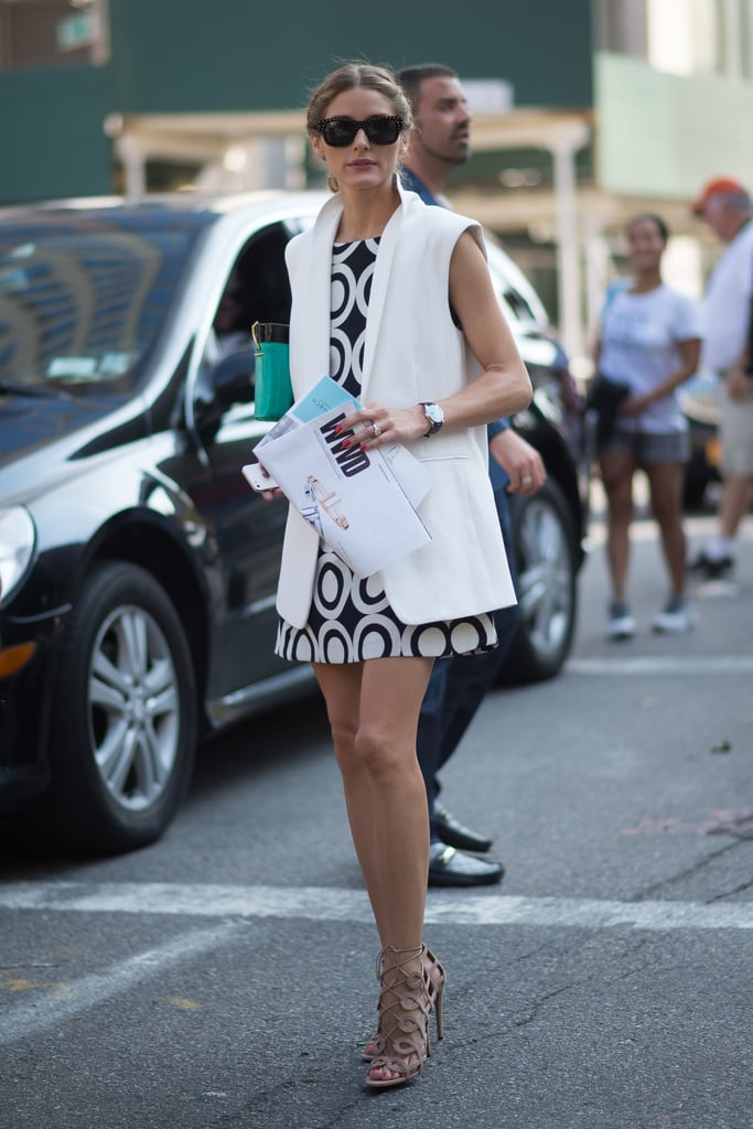 Update your shift dresses with an outfit-making vest, a la Olivia Palermo.