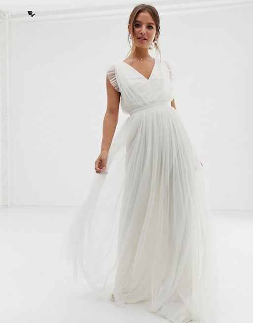 Anaya With Love Tulle Plunge Neck Maxi Dress