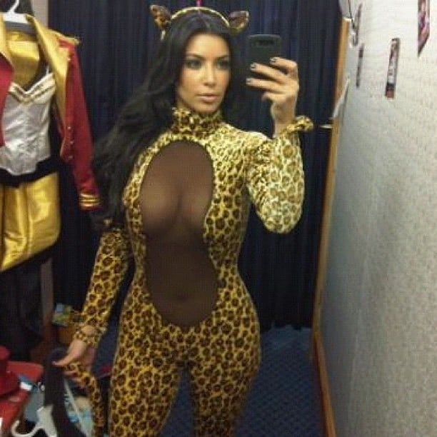 Kim Kardashian showed off her fabulous body in a questionable Halloween costume. Source: Instagram user kimkardashian