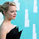 Emma Stone wore her hair back in a bun at the MTV Movie Awards.